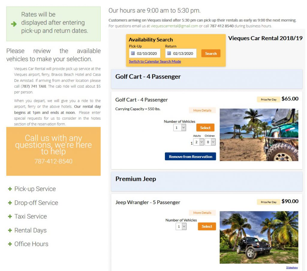 car rentals booking system